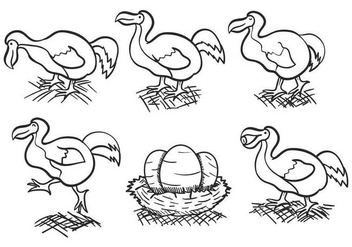 Dodo outline hand drawn vector set - vector gratuit #435217