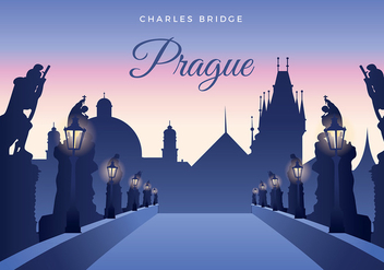 Charles Bridge Prague Free Vector - бесплатный vector #435277