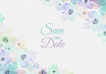 Free Vector Watercolor Save The Date Card With Painted Flowers - Free vector #435367