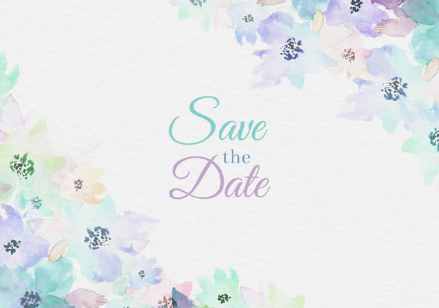 Free Vector Watercolor Save The Date Card With Painted Flowers - Kostenloses vector #435367