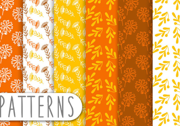 Orange Floral Pattern set - vector #435377 gratis