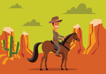 Cowboy Riding A Horse - vector gratuit #435427