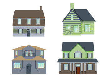 Colonial Houses Vector - vector gratuit #435457