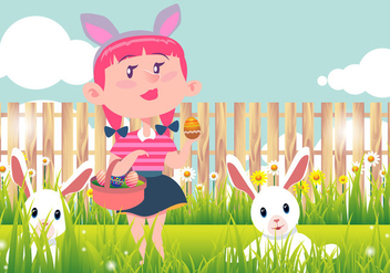 Kid Easter Egg Hunt Vector Background - бесплатный vector #435467