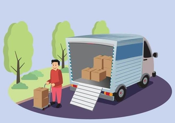 Free Moving Van With Man Holding A Box Illustration - Free vector #435507