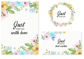Free Vector Invitation Cards With Watercolor Flowers - vector #435517 gratis