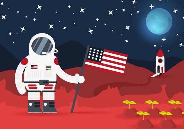 Colonial Space Planet Astratonaut Vector Illustration - vector #435557 gratis