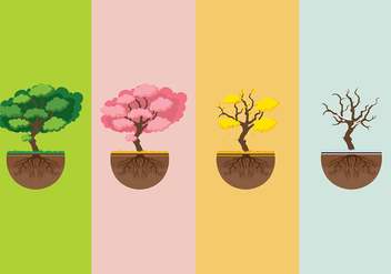 Seasons Tree With Roots Free Vector - vector gratuit #435607