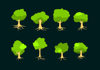 Flat Tree With Roots Free Vector - Free vector #435617