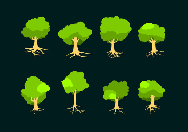 Flat Tree With Roots Free Vector - vector #435617 gratis
