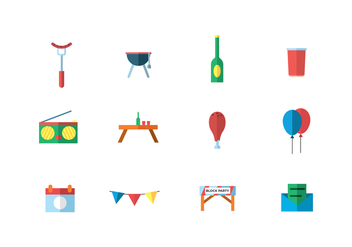 Party Icons in Flat Style - vector #435717 gratis