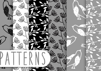 Blak And White Pattern Set - vector #435797 gratis