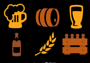Beer Element Icons Collection Vectors - Free vector #435847