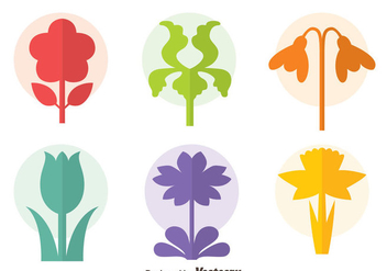 Colorful Flowers Collection Icons Vector - Free vector #435857