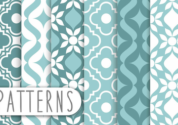 Blue Decorative Pattern Set - бесплатный vector #435867
