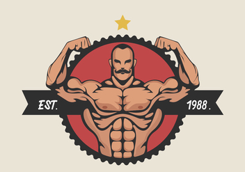 Muscular Man Flexing Bicep Vector Illustration - Free vector #436117