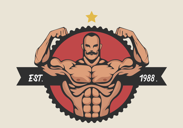 Muscular Man Flexing Bicep Vector Illustration - vector gratuit #436117