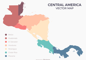 Central America Map With Colored Countries - vector #436127 gratis