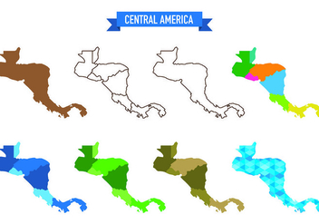 Central America Map Vectors - vector gratuit #436167