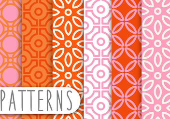 Pink and Orange Decorative Pattern Set - vector gratuit #436227