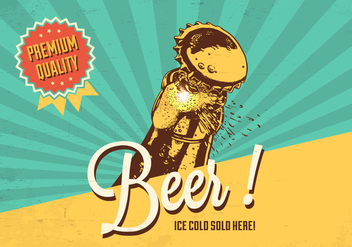 Cold Beer Vector Retro Poster - Kostenloses vector #436357