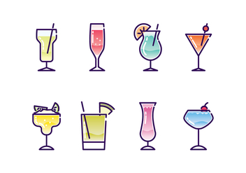 Cocktails Icon Set - vector gratuit #436497