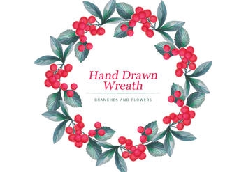 Vector Hand Drawn Wreath - vector gratuit #436617