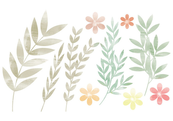 Vector Colorful Branches and Floral Set - vector gratuit #436627