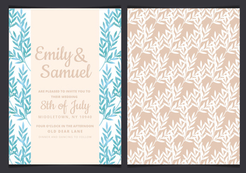 Vector Blue Branches Wedding Invitation - vector gratuit #436657