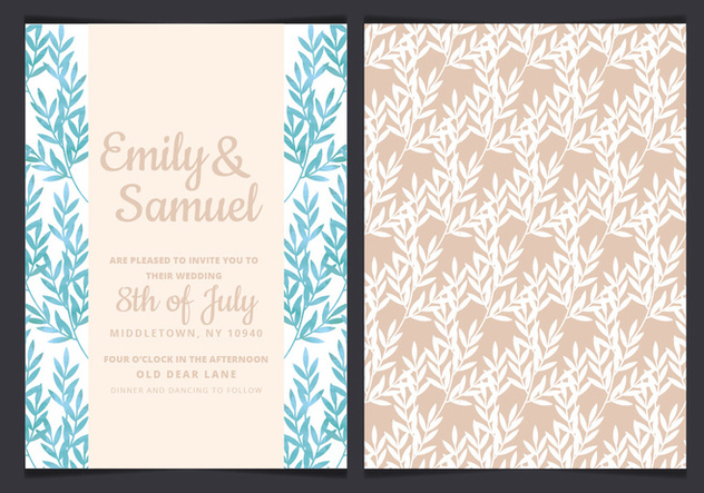 Vector Blue Branches Wedding Invitation - Kostenloses vector #436657