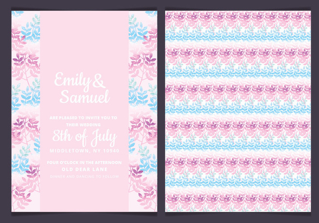 Vector Pink Branches Wedding Invitation - Kostenloses vector #436677