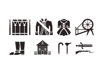 Colonial vector icons - vector #436787 gratis