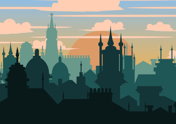 Prague City In Silhouette - vector gratuit #436907