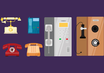 Flat Classic Telephone Vector Collection - vector gratuit #436947