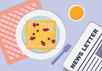 Plated Waffle And Breakfast Table Vector - Free vector #436987