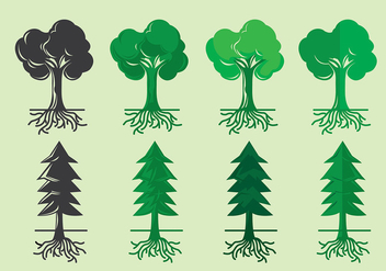 Tree With Roots Variant Icon - vector #437007 gratis