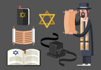 Tefillin And Jewish Traditional Symbols Vector Set - бесплатный vector #437077