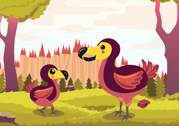 Dodo Cartoon Vector Illustration - vector gratuit #437097