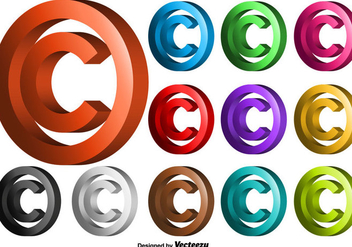 Vector 3D Copyright Symbol Set - Kostenloses vector #437347