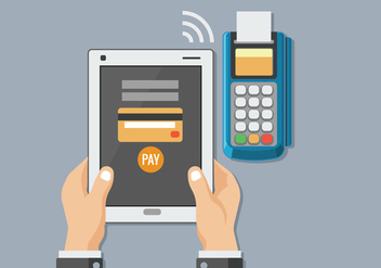 Man with the Tablet to Mobile Payment with NFC Technology - Free vector #437447