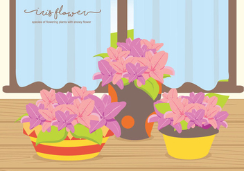 Iris Flower On The Table Illustration - vector #437457 gratis