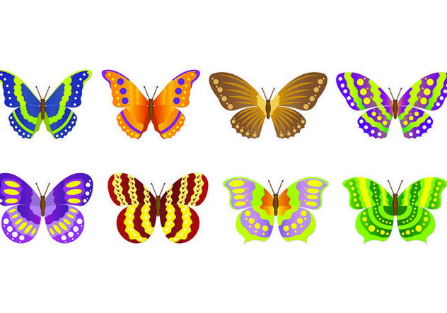 Set Of Mariposa Vectors - vector gratuit #437637