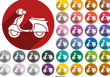 Scooter Flat Colorful Icons Vectors - vector #437687 gratis