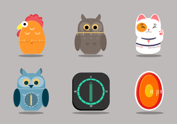Cute Egg Timer Vector Item Collection - Free vector #437707