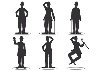 Charlie Chaplin Silhouette Set - Free vector #437787