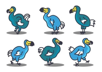 Dodo cute illustration set - vector gratuit #437797
