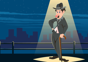 Charlie Chaplin Standing Below The Light - vector gratuit #437857