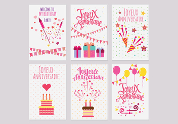 Birthday or Joyeux Anniversaire Greeting and Invitation Card Vectors - бесплатный vector #437877