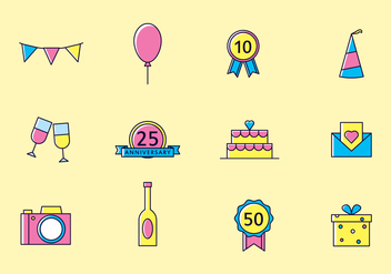 Bright Anniversary Icons - vector #437907 gratis