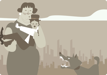 Lady Saves Charlie Chaplin From Dog Vector - vector gratuit #437947